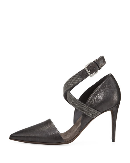 85mm Leather Pump with Monili Ankle Wrap