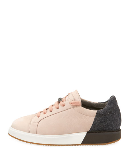 Colorblock Nubuck Platform Low-Top Sneakers