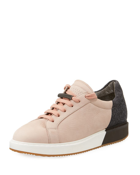 Brunello Cucinelli Colorblock Nubuck Platform Low-Top Sneaker