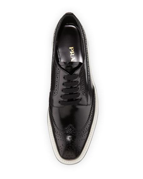 Platform Brogue-Trim Leather Oxford