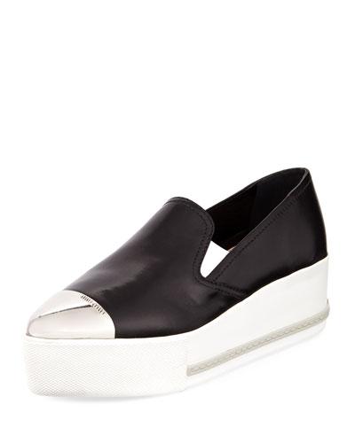 Platform Cap-Toe Leather Slip-On Sneaker