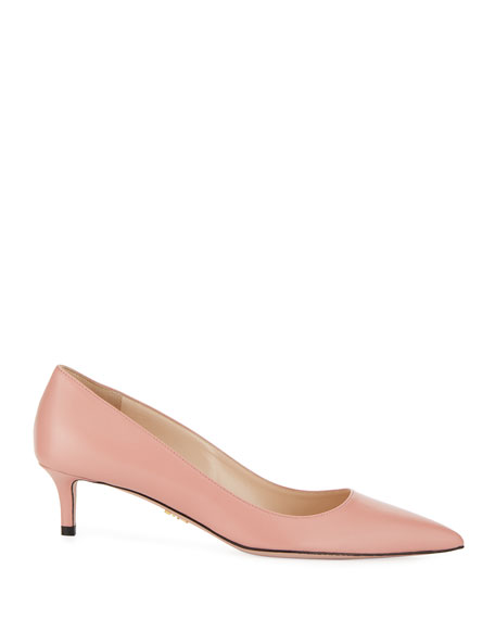 Kidskin Leather 45mm Pumps, Pink