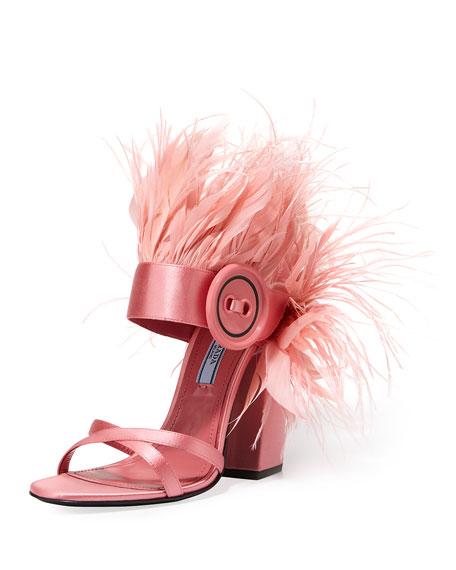 Feather-Embellished Satin Sandal