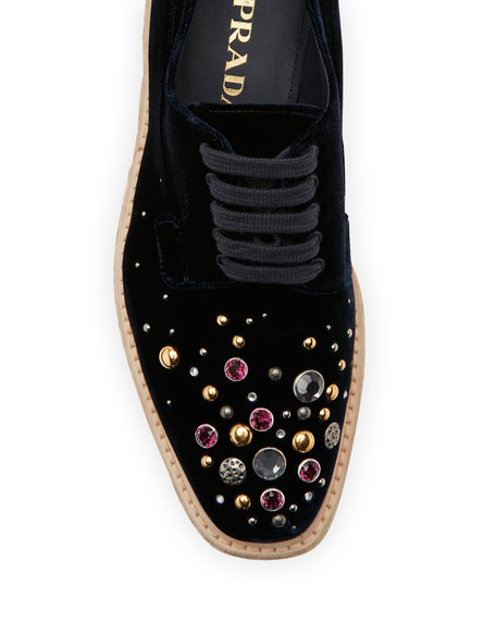 Velvet Embellished Platform Sneakers