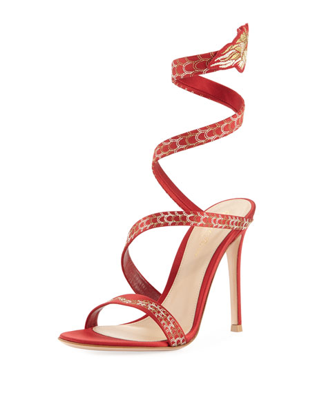 Gianvito Rossi Snake Coiled Satin Embellished Sandal, Red