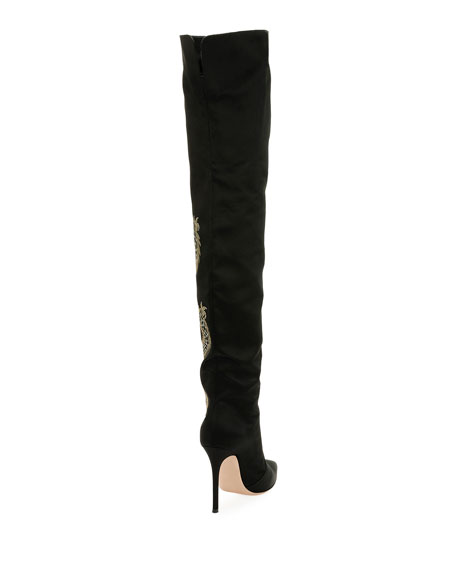 Dragon Cuissard Over-The-Knee Satin Boot, Black