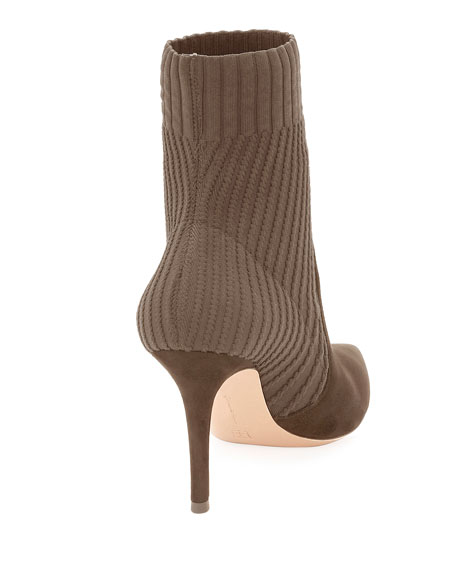 Katie 85 Suede Sock Booties, Taupe