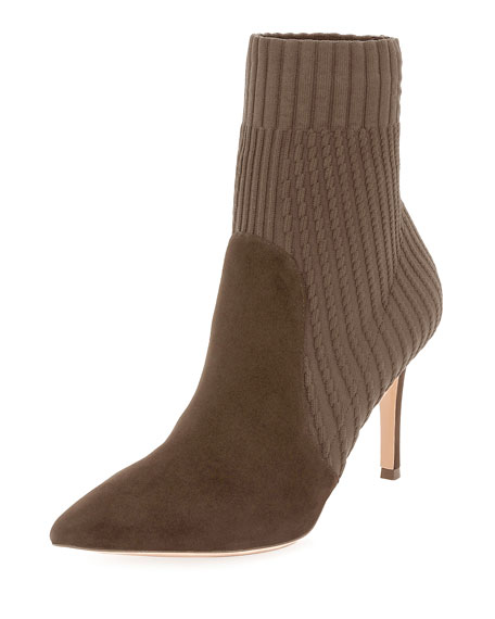 GIANVITO ROSSI Katie 85 Suede And Ribbed-Knit Sock Boots, Taupe