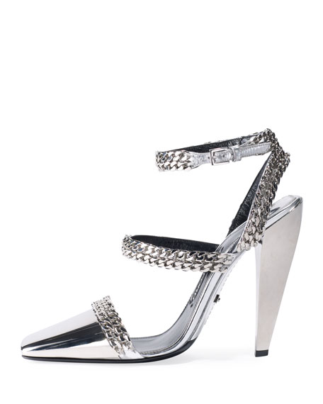 Metallic Chain 105mm Pumps, Silver
