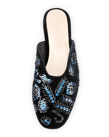 Beaded Sequin Flat Suede Mule, Black/Blue