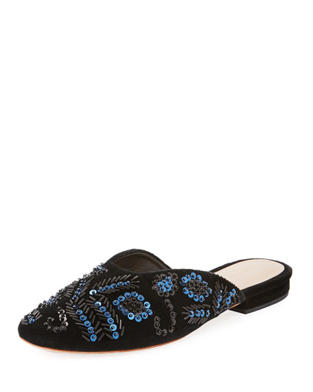 Loeffler Randall Beaded Sequin Flat Suede Mule, Black/Blue