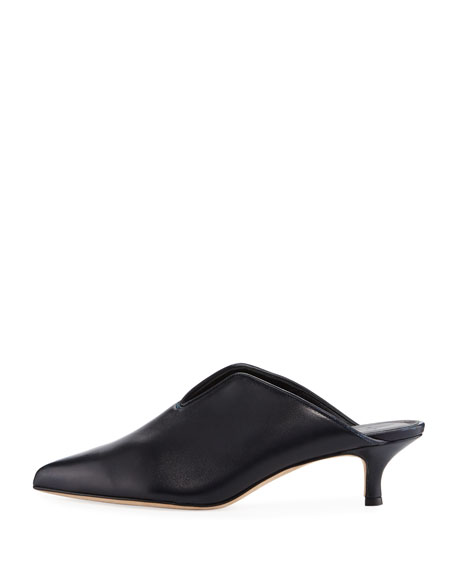 Dana Leather Low-Heel Mule Pumps