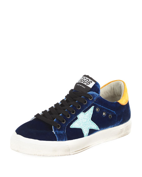 Golden Goose May Velvet Star Low-Top Sneaker