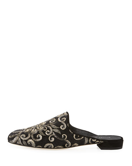 Pipe Mulearky Flat Embroidered Mule, Black