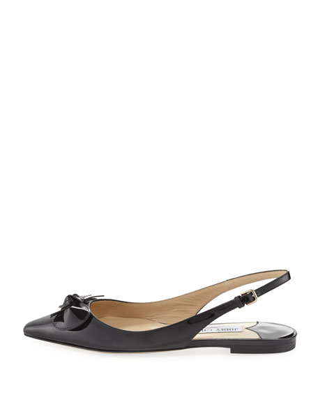 Jimmy Choo BLARE FLAT Black Patent Leather Sling Back Flats Women