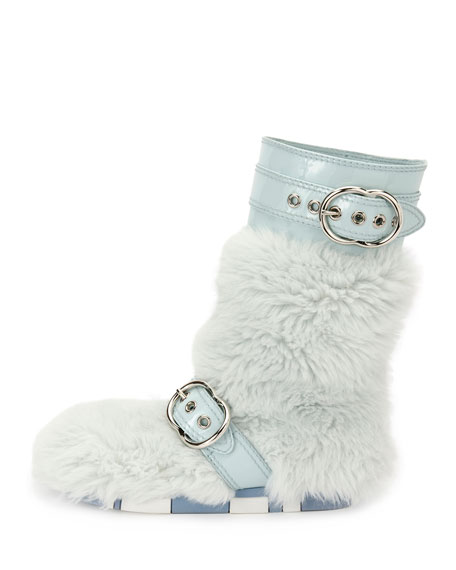 Faux-Fur Boot with Buckle Detail, Blue