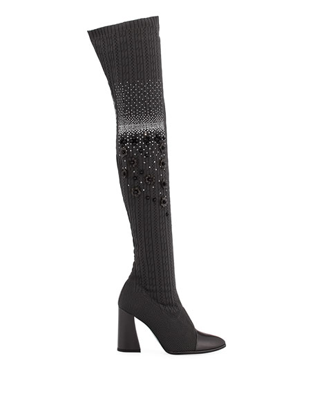 Longlegs Over-The-Knee Embellished Sock Boot