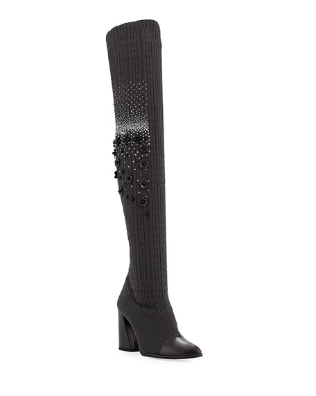 Stuart Weitzman Longlegs Over-The-Knee Embellished Sock Boot