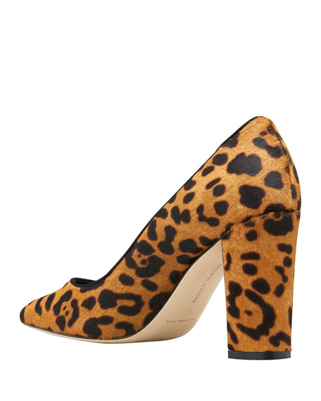Image 2 of 2: Manolo Blahnik Tucciototo Leopard-Print Calf Hair Pumps