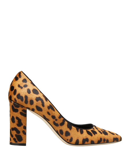 Image 1 of 2: Manolo Blahnik Tucciototo Leopard-Print Calf Hair Pumps