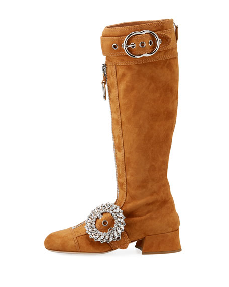 Suede Crystal-Embellished Knee-High Boot