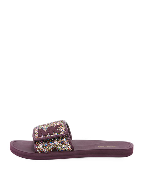 Chunky Glitter MK Flat Slide Sandal