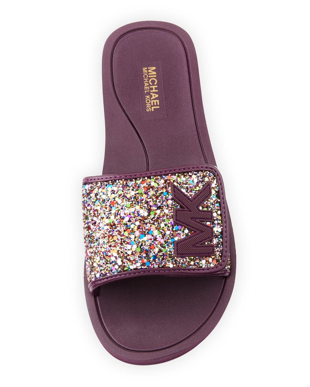 michael michael kors chunky glitter mk flat slide sandal neiman marcus