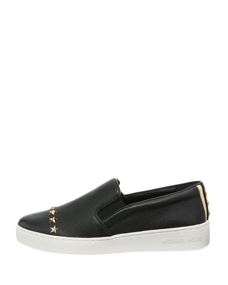 Keaton Star-Studded Leather Slip-On Sneakers