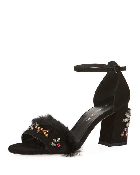 Jewelsandal Fur-Trim Suede Sandal