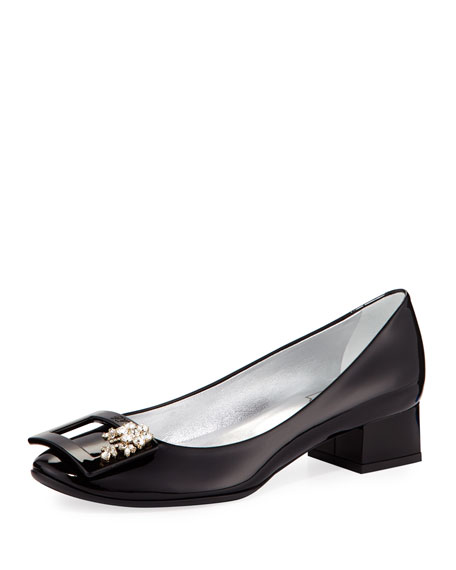 Roger Vivier Jeweled Patent Block-Heel Pump