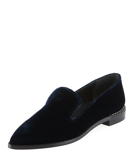 Stuart Weitzman Runatab Velvet Pointed-Toe Loafer, Navy