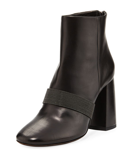 Brunello Cucinelli Leather Bootie w/ Back Zip