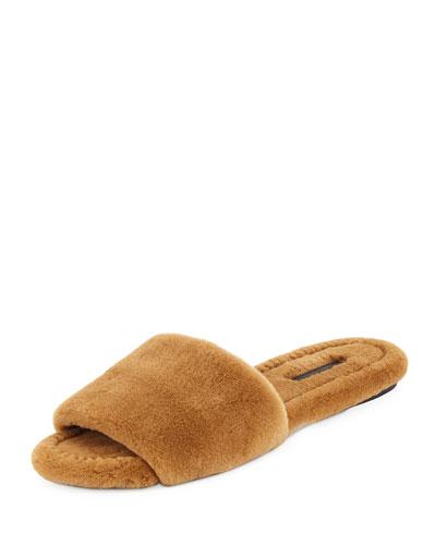 Ellen Flat Mink Fur Slide Sandal