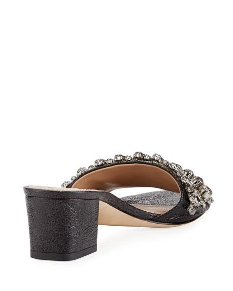 Beverly Embellished Crinkle-Leather Slide Sandal