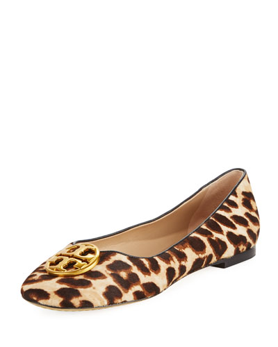 Chelsea Calf Hair Ballerina Flat, Leopard