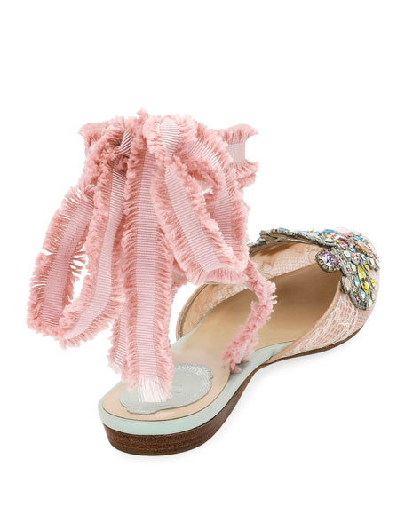 Embroidered Flat with Fringed Ribbon Tie