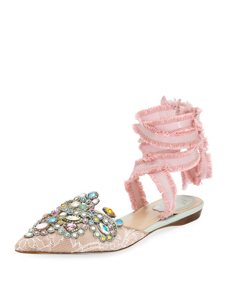 Rene Caovilla Embroidered Flat with Fringed Ribbon Tie