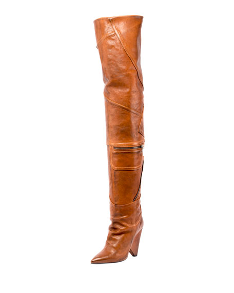 Niki Leather Zip Over-The-Knee Boot