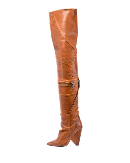 Saint Laurent Niki Leather Zip Over-The-Knee Boot