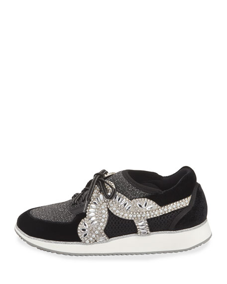 Royalty Mixed Knit/Velvet Embellished Sneaker