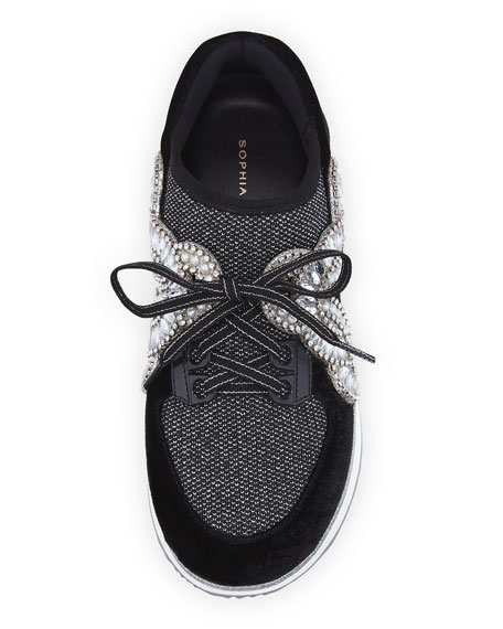 Royalty Mixed Knit/Velvet Embellished Sneakers