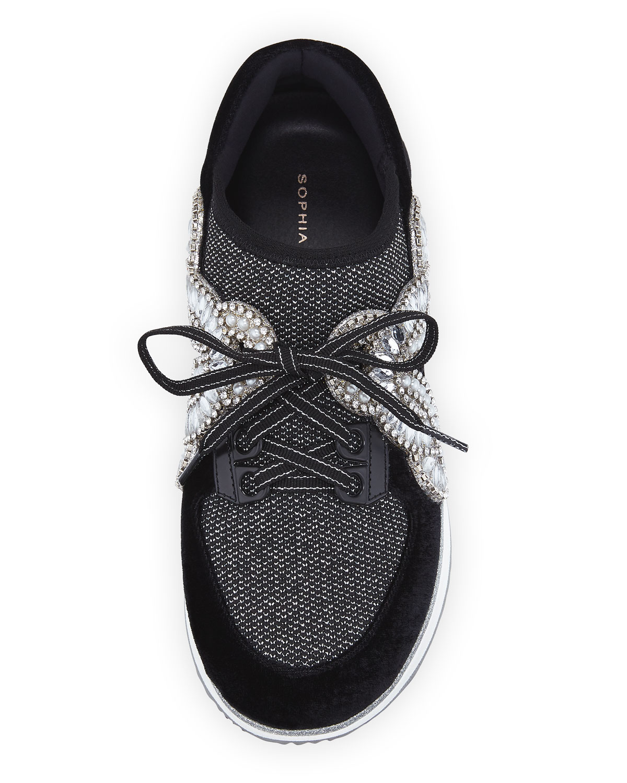 Sophia Webster Royalty Mixed Knit/Velvet Embellished Sneakers XTpLLxdx