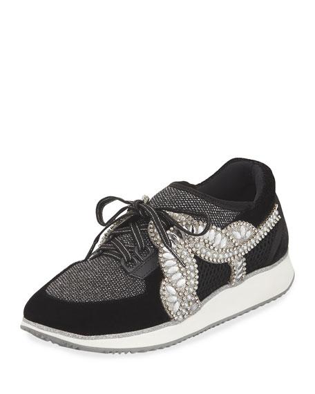 Sophia Webster Royalty Mixed Knit/Velvet Embellished Sneaker