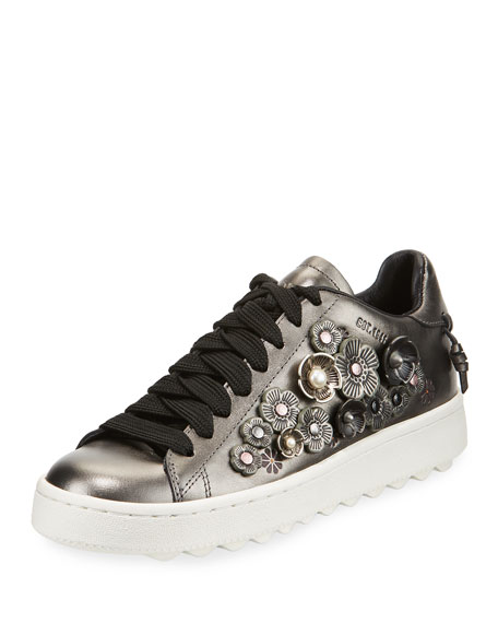 Coach Tea Rose Metallic Leather Low-Top Sneaker