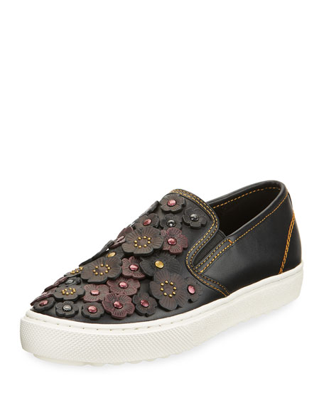 Coach Tea Rose Embellished Leather Skate Sneaker