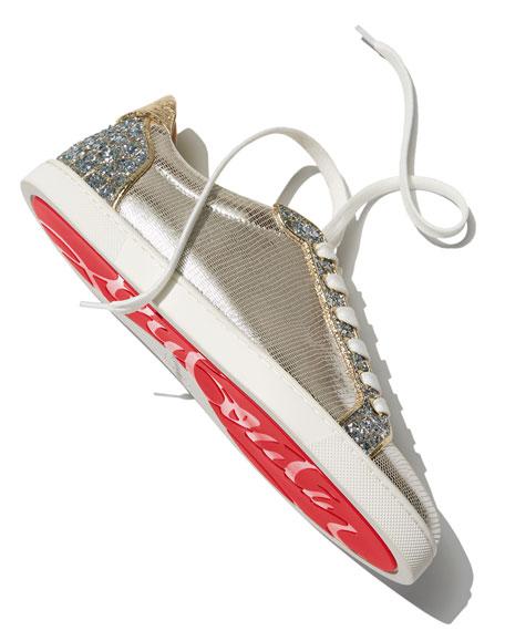 Seava Metallic Flat Red Sole Sneakers