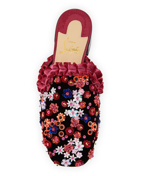 Dona Viera Embroidered Suede Red Sole Mule