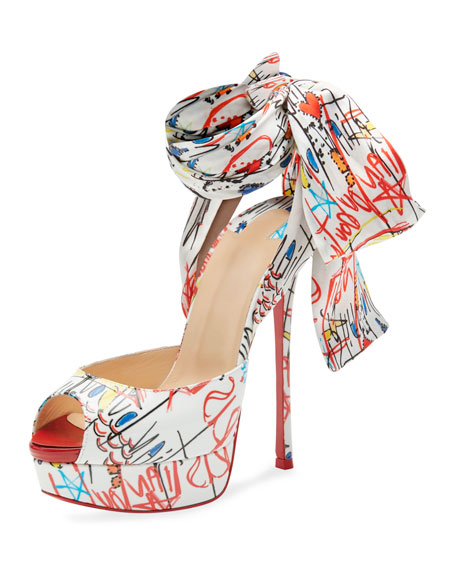 Christian Louboutin Jersey Loubitag Platform Red Sole Sandal