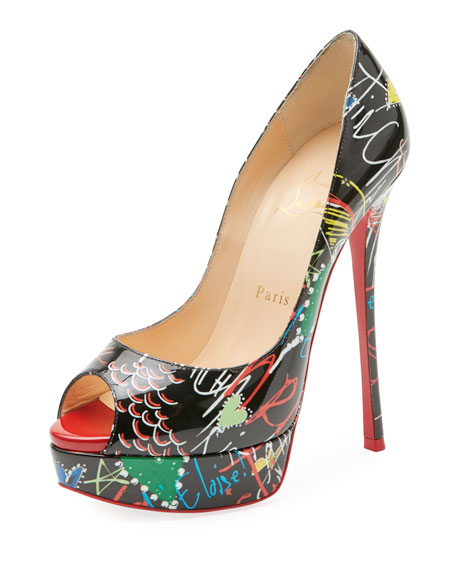 Christian Louboutin Fetish Loubitag Patent Platform Red Sole