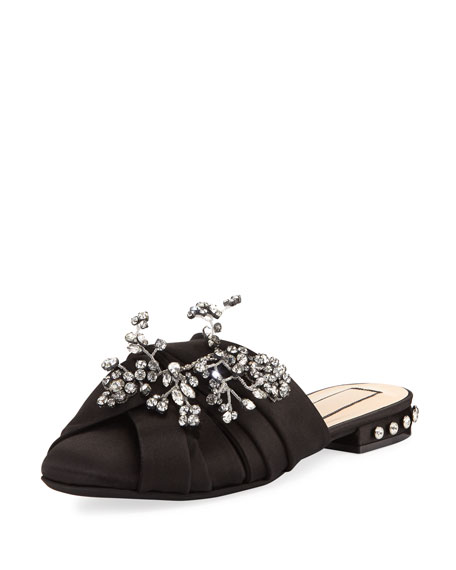 No. 21 Embellished Knot Flat Satin Mule